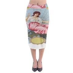 Vintage Art Collage Lady Fabrics Midi Pencil Skirt