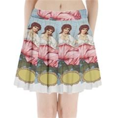 Vintage Art Collage Lady Fabrics Pleated Mini Skirt