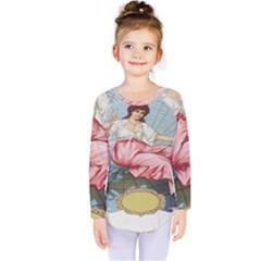 Vintage Art Collage Lady Fabrics Kids  Long Sleeve Tee