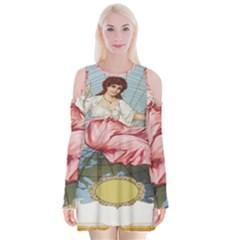 Vintage Art Collage Lady Fabrics Velvet Long Sleeve Shoulder Cutout Dress