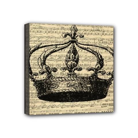 Vintage Music Sheet Crown Song Mini Canvas 4  X 4  by Nexatart
