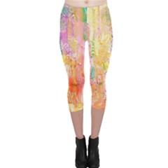 Watercolour Watercolor Paint Ink Capri Leggings