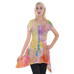 Watercolour Watercolor Paint Ink Short Sleeve Side Drop Tunic by Nexatart