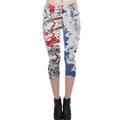 Water Reflection Abstract Blue Capri Leggings