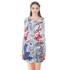 Water Reflection Abstract Blue Flare Dress