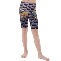 Worker Bees On Honeycomb Kids  Mid Length Swim Shorts by Nexatart