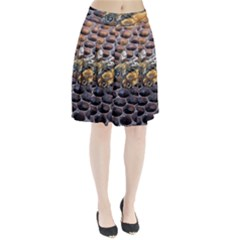 Worker Bees On Honeycomb Pleated Skirt by Nexatart