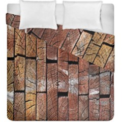 Wood Logs Wooden Background Duvet Cover Double Side (king Size) by Nexatart