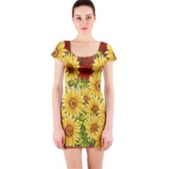 Sunflowers Flowers Abstract Short Sleeve Bodycon Dress