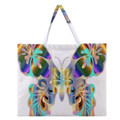 Abstract Animal Art Butterfly Zipper Large Tote Bag by Amaryn4rt