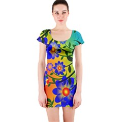 Abstract Background Backdrop Design Short Sleeve Bodycon Dress by Amaryn4rt