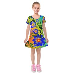 Abstract Background Backdrop Design Kids  Short Sleeve Velvet Dress by Amaryn4rt