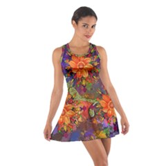 Abstract Flowers Floral Decorative Cotton Racerback Dress
