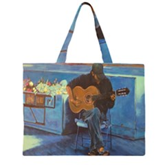 Man And His Guitar Zipper Large Tote Bag by theunrulyartist