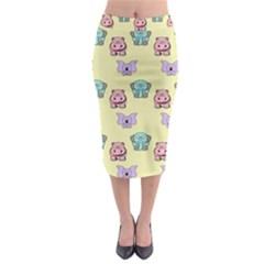 Animals Pastel Children Colorful Midi Pencil Skirt
