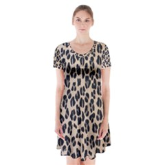 Background Pattern Leopard Short Sleeve V Neck Flare Dress by Amaryn4rt