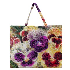 Background Flowers Zipper Large Tote Bag by Amaryn4rt