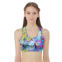 Backdrop Background Flowers Sports Bra With Border