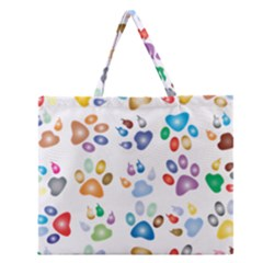 Colorful Prismatic Rainbow Animal Zipper Large Tote Bag by Amaryn4rt