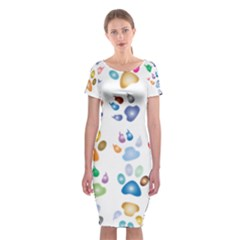 Colorful Prismatic Rainbow Animal Classic Short Sleeve Midi Dress by Amaryn4rt