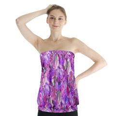 Flowers Abstract Digital Art Strapless Top by Amaryn4rt