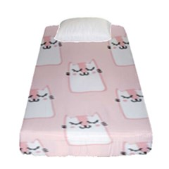 Pattern Cat Pink Cute Sweet Fur Fitted Sheet (single Size) by Amaryn4rt