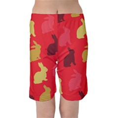 Hare Easter Pattern Animals Kids  Mid Length Swim Shorts by Amaryn4rt