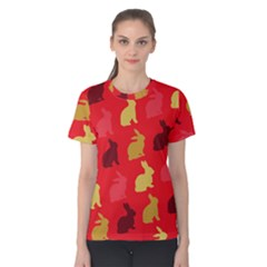 Hare Easter Pattern Animals Women s Cotton Tee by Amaryn4rt