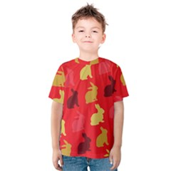 Hare Easter Pattern Animals Kids  Cotton Tee by Amaryn4rt