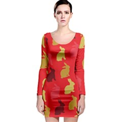 Hare Easter Pattern Animals Long Sleeve Bodycon Dress by Amaryn4rt