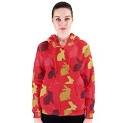 Hare Easter Pattern Animals Women s Zipper Hoodie by Amaryn4rt