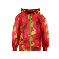 Hare Easter Pattern Animals Kids  Zipper Hoodie by Amaryn4rt