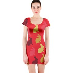 Hare Easter Pattern Animals Short Sleeve Bodycon Dress by Amaryn4rt