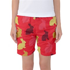 Hare Easter Pattern Animals Women s Basketball Shorts