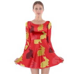 Hare Easter Pattern Animals Long Sleeve Skater Dress by Amaryn4rt