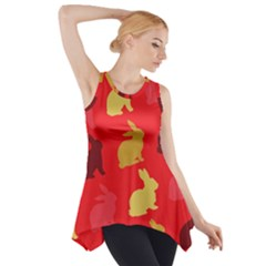 Hare Easter Pattern Animals Side Drop Tank Tunic by Amaryn4rt