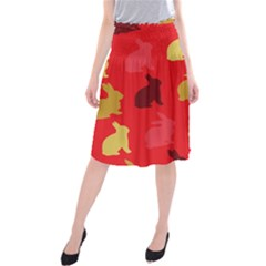 Hare Easter Pattern Animals Midi Beach Skirt by Amaryn4rt