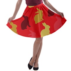 Hare Easter Pattern Animals A Line Skater Skirt by Amaryn4rt
