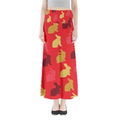 Hare Easter Pattern Animals Maxi Skirts by Amaryn4rt