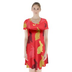 Hare Easter Pattern Animals Short Sleeve V Neck Flare Dress by Amaryn4rt
