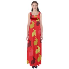 Hare Easter Pattern Animals Empire Waist Maxi Dress by Amaryn4rt