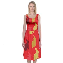 Hare Easter Pattern Animals Midi Sleeveless Dress by Amaryn4rt