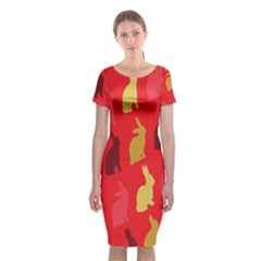 Hare Easter Pattern Animals Classic Short Sleeve Midi Dress by Amaryn4rt