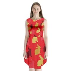 Hare Easter Pattern Animals Sleeveless Chiffon Dress   by Amaryn4rt