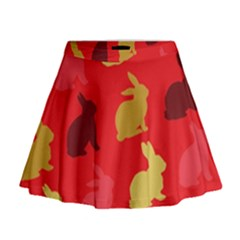 Hare Easter Pattern Animals Mini Flare Skirt by Amaryn4rt