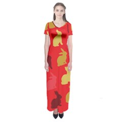 Hare Easter Pattern Animals Short Sleeve Maxi Dress by Amaryn4rt