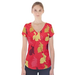 Hare Easter Pattern Animals Short Sleeve Front Detail Top by Amaryn4rt