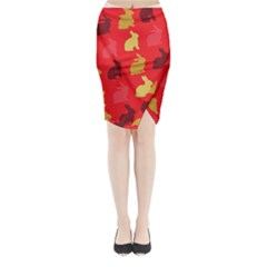 Hare Easter Pattern Animals Midi Wrap Pencil Skirt