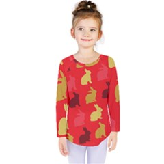 Hare Easter Pattern Animals Kids  Long Sleeve Tee by Amaryn4rt
