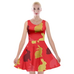 Hare Easter Pattern Animals Velvet Skater Dress